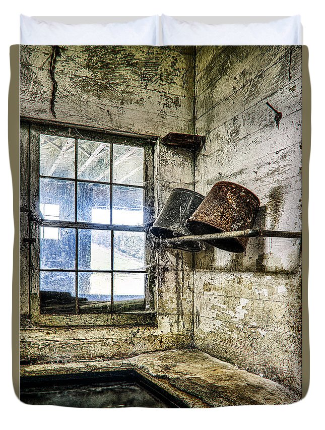 Andrew Wyeth Duvet Cover featuring the photograph Milking Room by John Greim