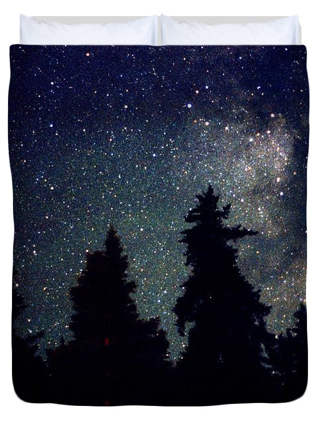 Milky Way Duvet Cover featuring the photograph Milky Way Above Northern Forest 22 by Lyle Crump