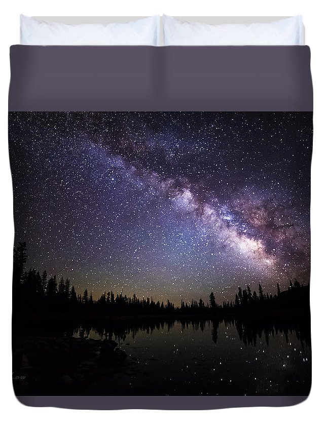 Milky Way Duvet Cover featuring the photograph Milky Way Over The Lake by Scott Law