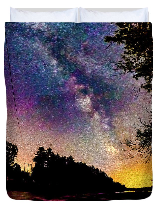 Saco River Duvet Cover featuring the photograph Milky Way Over The Saco River Maine by JoAnn McDonald
