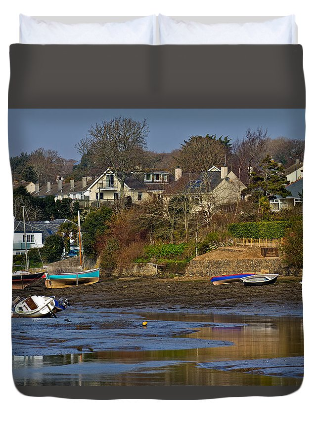 Mill Quay Duvet Cover featuring the photograph Mill Quay Mylor Bridge by Brian Roscorla