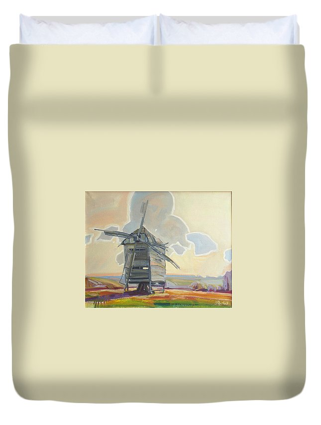 Oil Duvet Cover featuring the painting Mill by Sergey Ignatenko