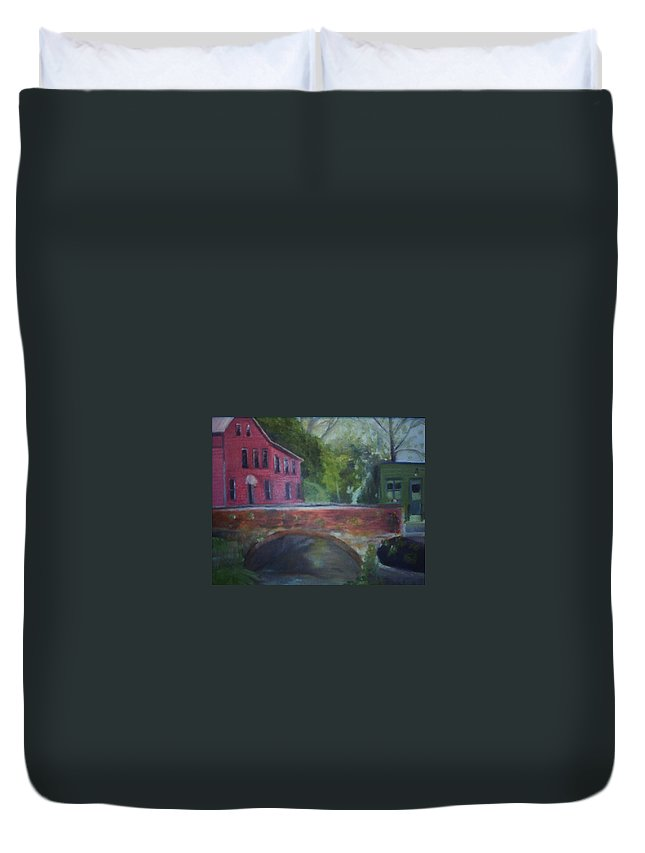 Mill Street Duvet Cover featuring the painting Mill Street Plein Aire by Sheila Mashaw