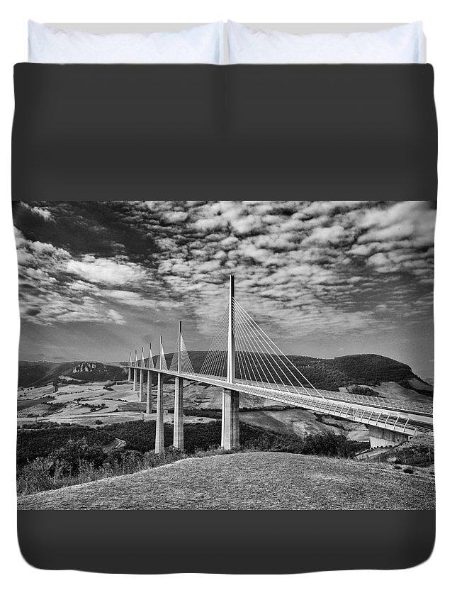 Millau Duvet Cover featuring the photograph Millau Bridge France by Chris Pickett