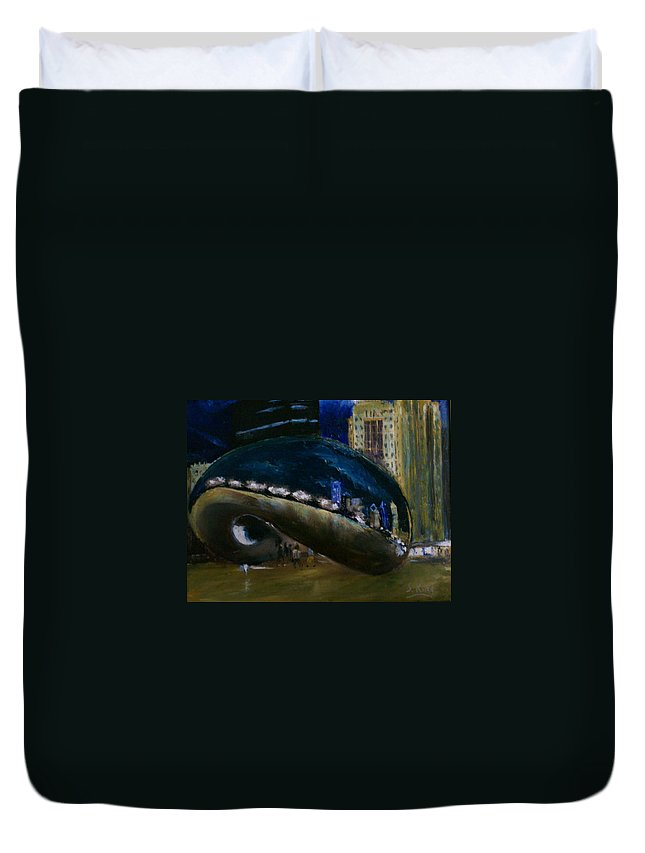 Cityscape Duvet Cover featuring the painting Millennium Park - Chicago by Stephen King