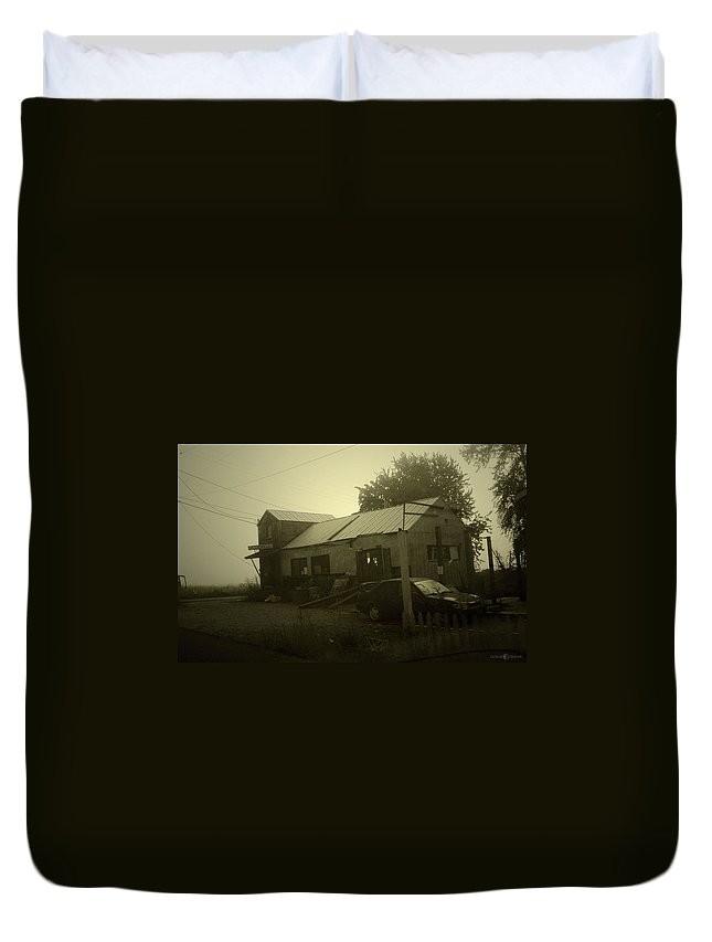 Milltown Duvet Cover featuring the photograph Milltown Merchantile by Tim Nyberg