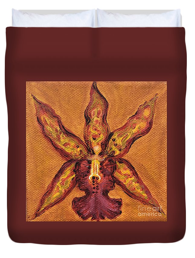 Floral Duvet Cover featuring the painting Miltassia Hybrid by Julia Dangaran