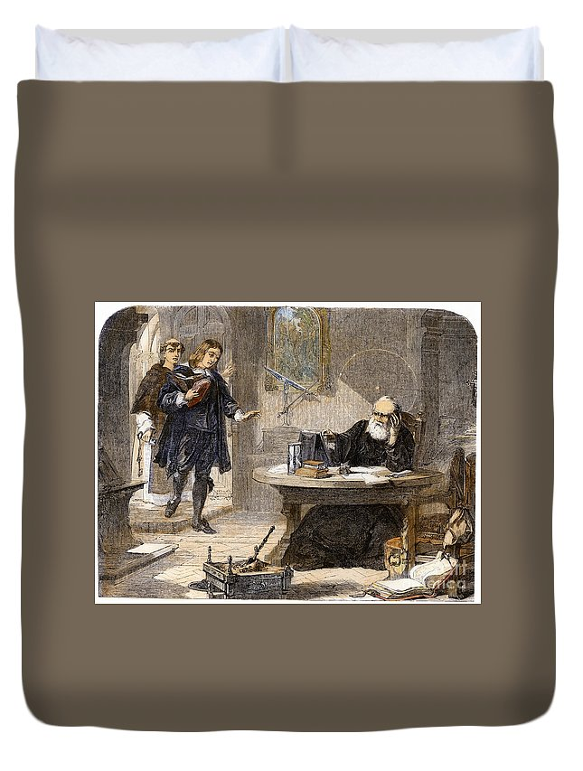 1638 Duvet Cover featuring the drawing Milton And Galileo, 1638-39 by Granger