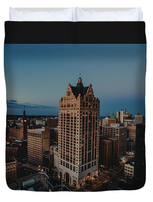 Drone Duvet Cover featuring the pyrography Milwaukee Aerial. by Khotic H