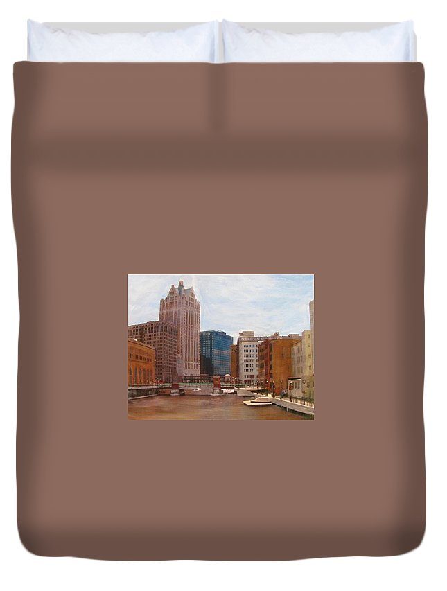 Milwaukee Duvet Cover featuring the mixed media Milwaukee River View by Anita Burgermeister