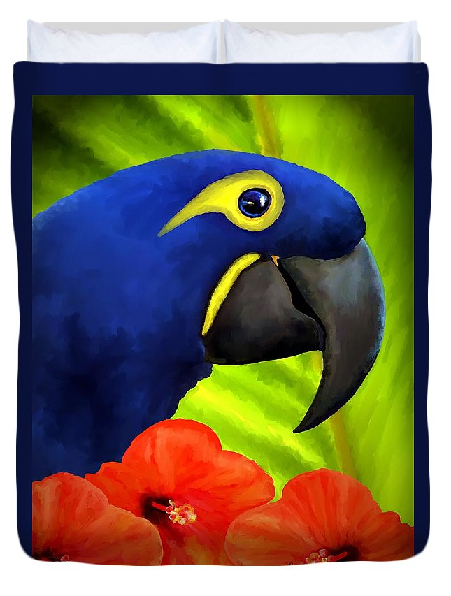 Hyacinth Macaw Duvet Cover featuring the painting Mimi by David Wagner
