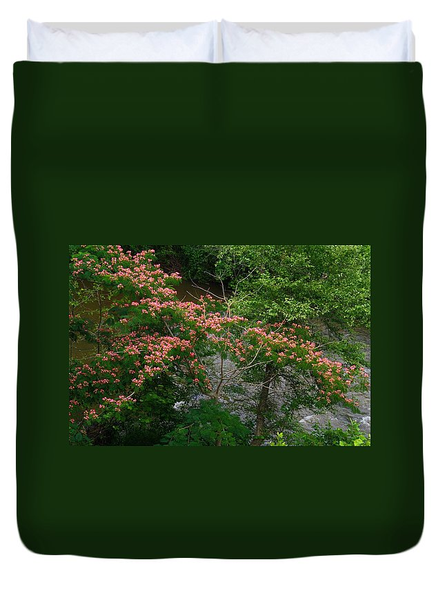 Mimosa Duvet Cover featuring the photograph Mimosa On The Dan River by Kathryn Meyer