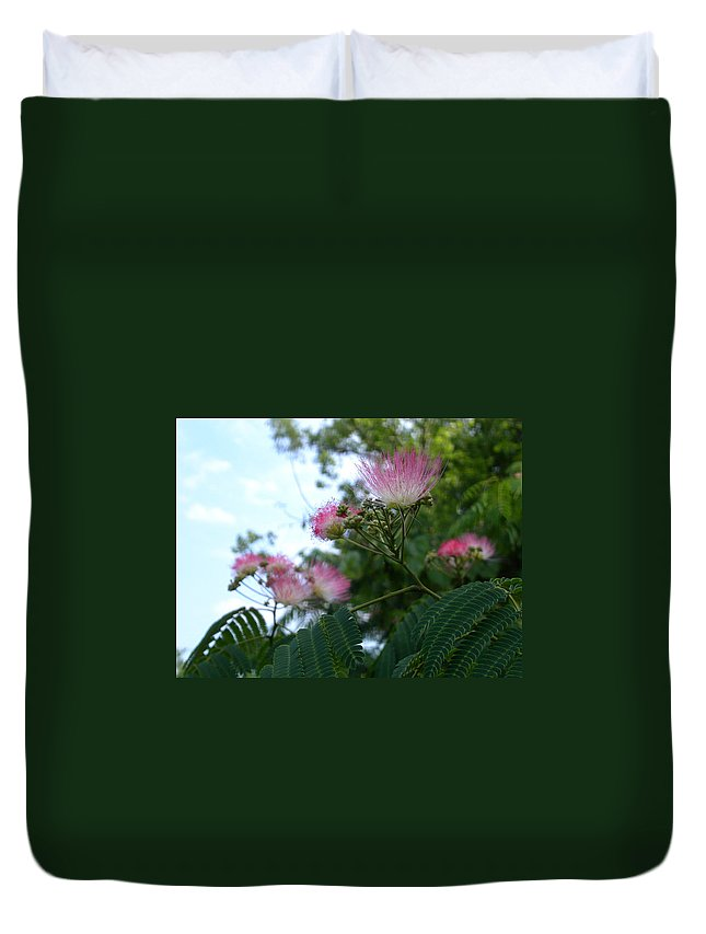 Mimosa Duvet Cover featuring the photograph Mimosa Sky by Anne Cameron Cutri