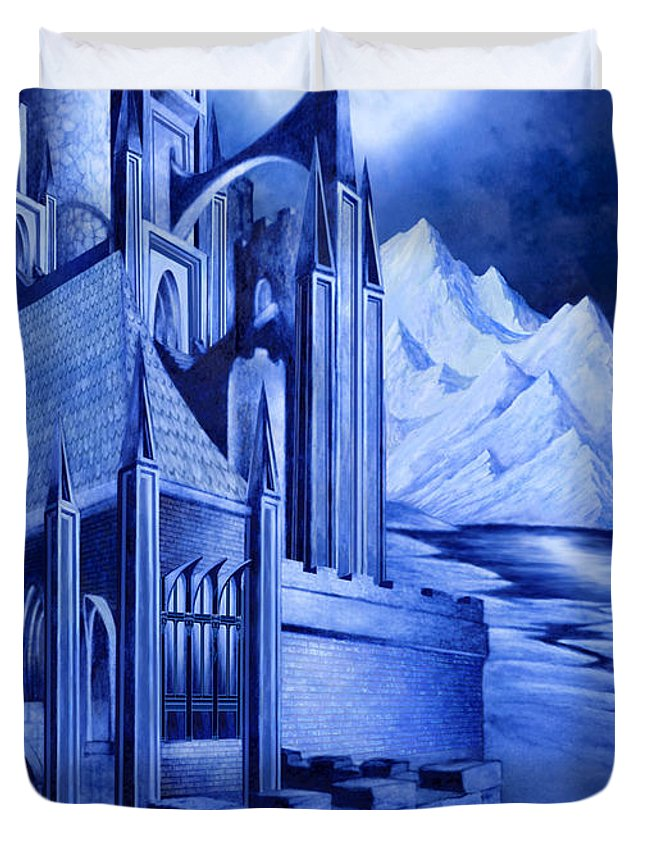 Lord Of The Rings Duvet Cover featuring the mixed media Minas Tirith by Curtiss Shaffer