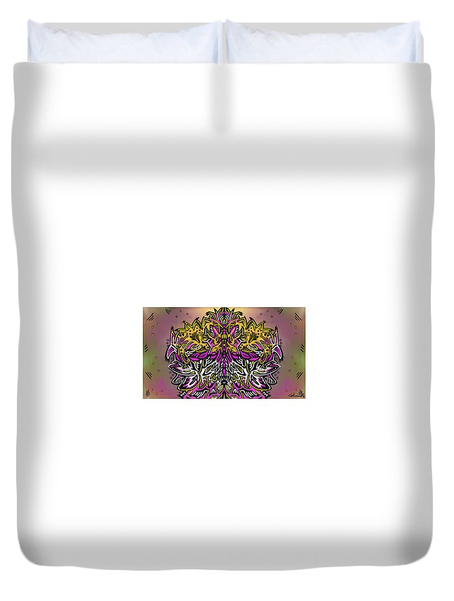 Duvet Cover featuring the painting Mind Bending by Jeanie Goins