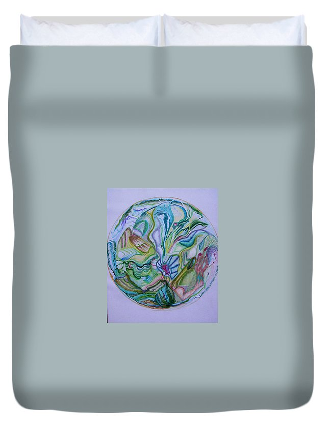 Abstract Duvet Cover featuring the drawing Mind Mandala by Suzanne Udell Levinger