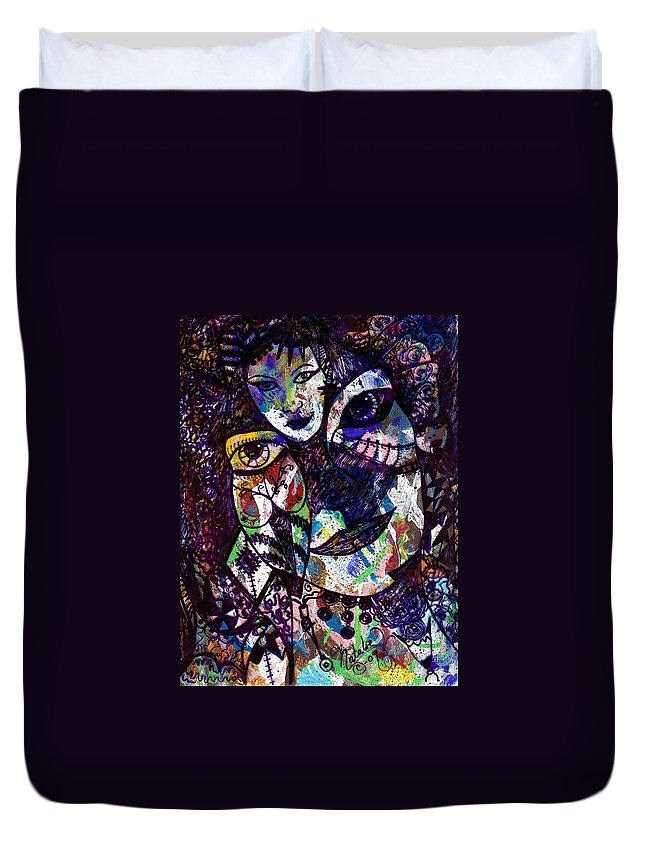 Female Duvet Cover featuring the painting Mind Reader by Natalie Holland