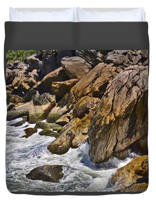 Brazil Duvet Cover featuring the photograph Brazilian Sea Cliffs - Guaruja - Sao Paulo by Carlos Alkmin