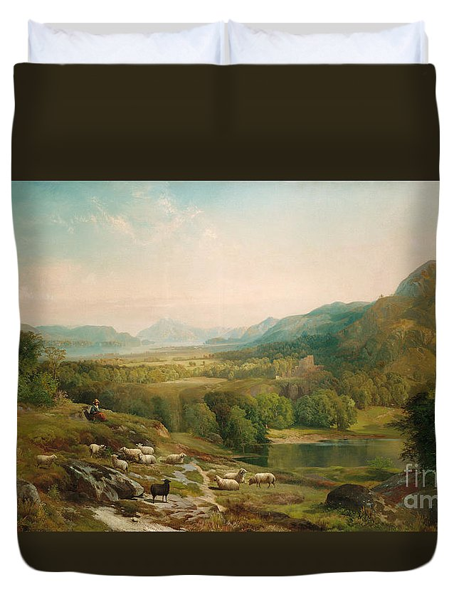 Thomas Moran Duvet Cover featuring the painting Minding The Flock by Thomas Moran
