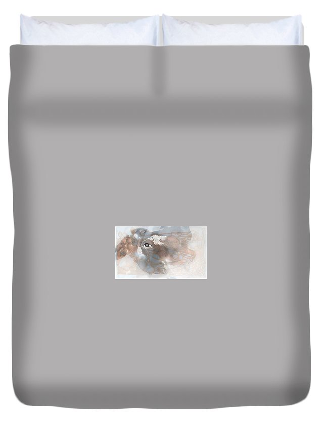Surreal Painting Duvet Cover featuring the digital art Mind's Eye In The Clouds by Karen Henninger