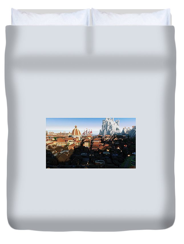 Minecraft Duvet Cover featuring the digital art Minecraft by Dorothy Binder