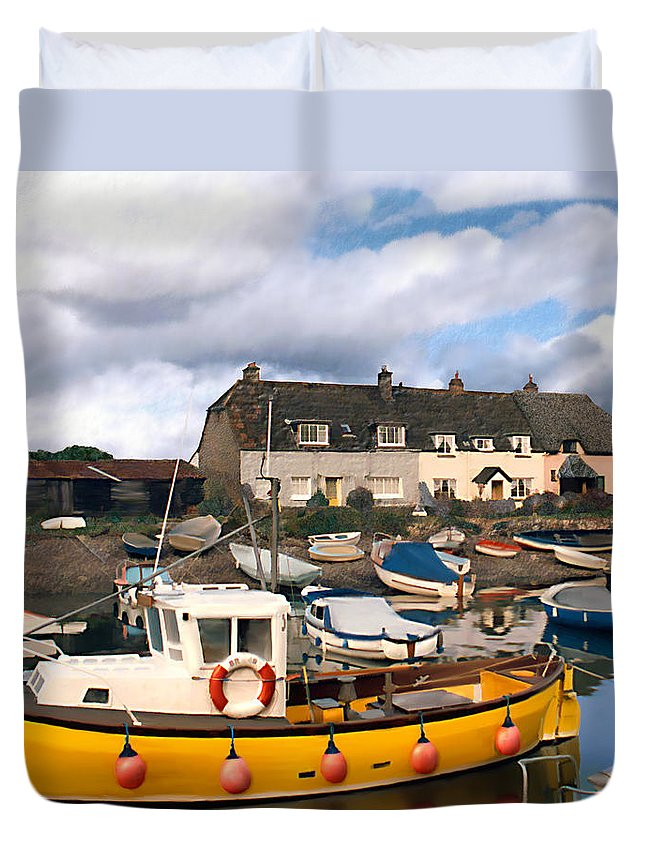 Harbor Duvet Cover featuring the photograph Minehead Sommerset by Kurt Van Wagner
