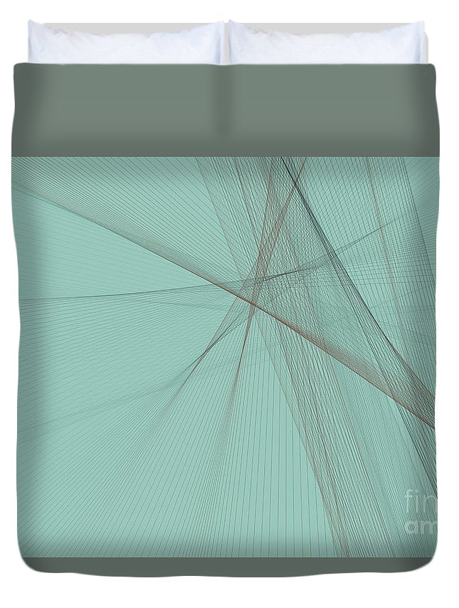 Abstract Duvet Cover featuring the digital art Mineral Computer Graphic Line Pattern by Frank Ramspott