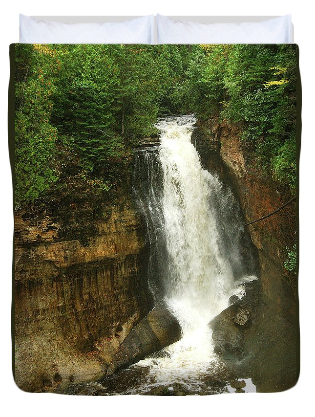 Miners Falls Duvet Cover featuring the photograph Miners Falls by Michael Peychich