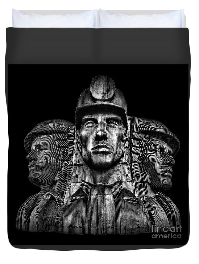 Bargoed Duvet Cover featuring the photograph Miners In The Dark by Steve Purnell