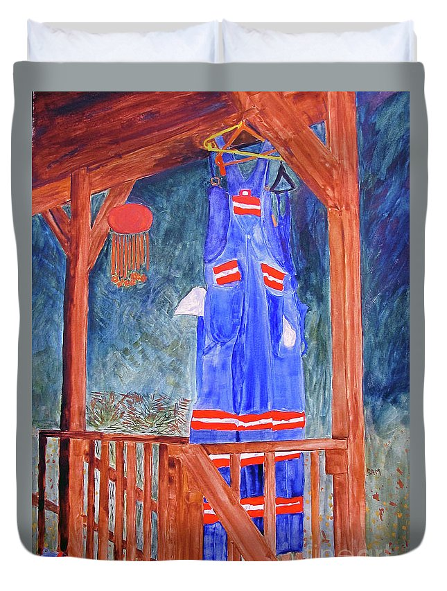 Miner Duvet Cover featuring the painting Miner's Overalls by Sandy McIntire