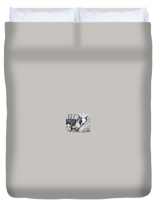 Dog Duvet Cover featuring the drawing Mini Bulldog Terrier by Nicole Zeug