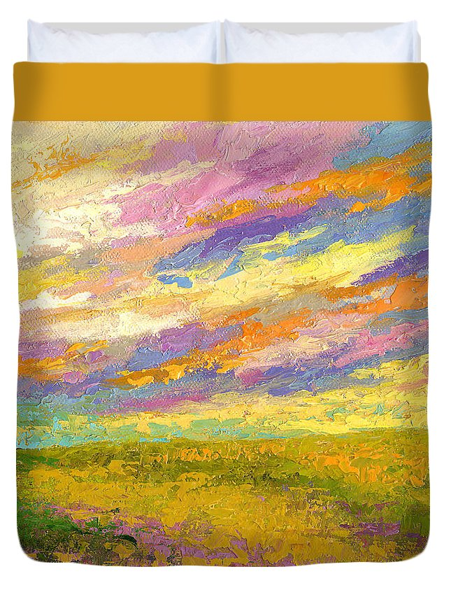 Landscape Duvet Cover featuring the painting Mini Landscape V by Marion Rose