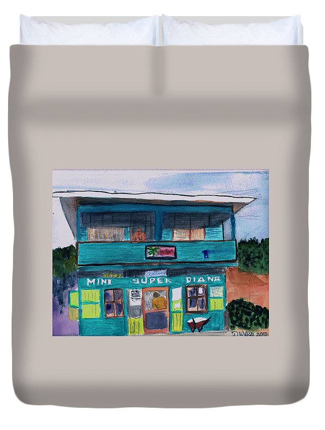 Market Duvet Cover featuring the painting Mini Super Diana by Donna Walsh