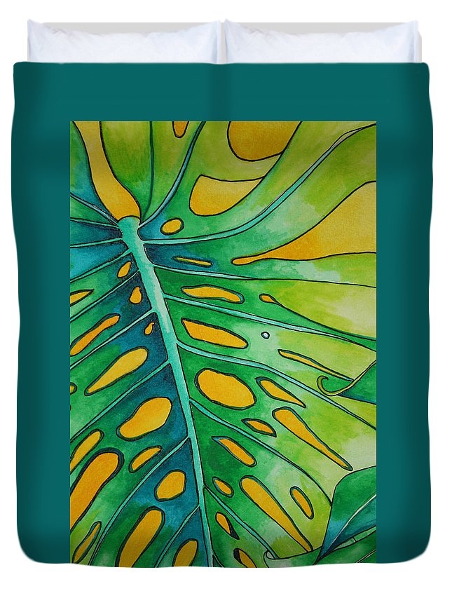 Tropical Plants Duvet Cover featuring the painting Mini Tropicals 2 by Helen Weston