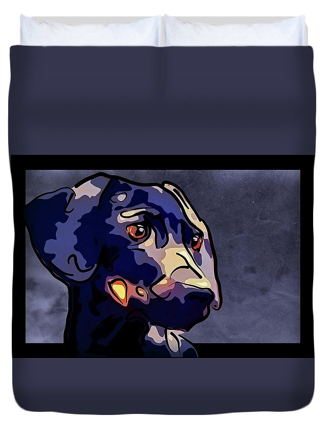 Miniature Dachshund Duvet Cover featuring the mixed media Miniature Dachshund by Alexey Bazhan