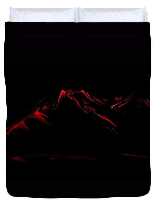 Digital Art Duvet Cover featuring the digital art Minimal Landscape Red by David Lane