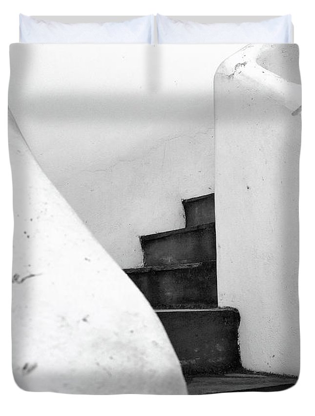 Minimal Duvet Cover featuring the photograph Minimal Staircase by PrintsProject