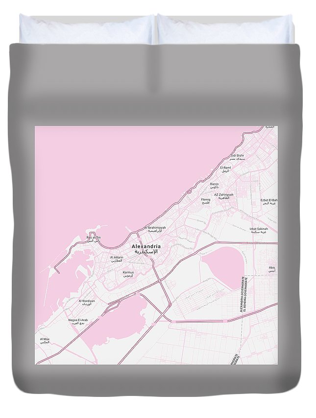 Minimalist Modern Map Of Alexandria, Egypt 1 Duvet Cover for Sale by ...
