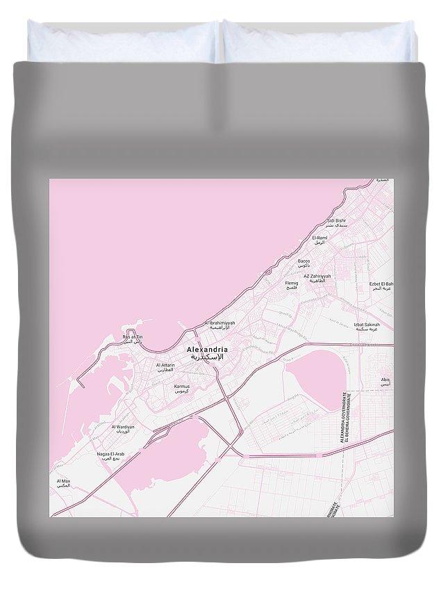 Minimalist Modern Map Of Alexandria, Egypt 1 Duvet Cover