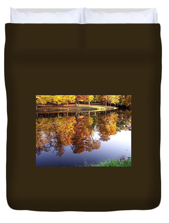 jenny Gandert Lake Gold Mining Water Reflection Sky Blue Yellow Maple Maples Trees Autumn Fall Grass Real Duvet Cover featuring the photograph Mining For Gold by Jenny Gandert