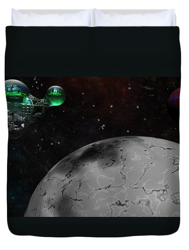 Science Fiction Duvet Cover featuring the digital art Mining Operation Deep Space by David Lane