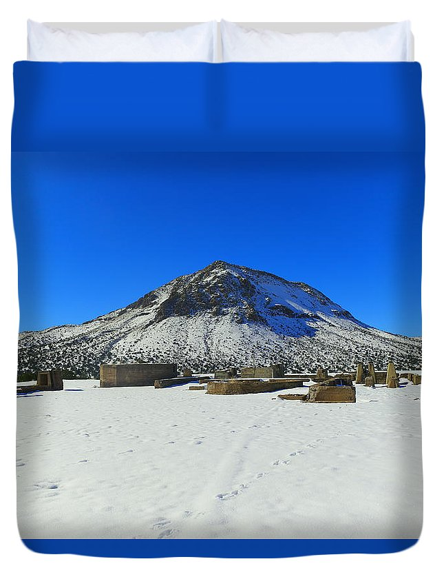 Mountain Duvet Cover featuring the photograph Mining Ruins Foreground A Snowy Mountain by Jeff Swan