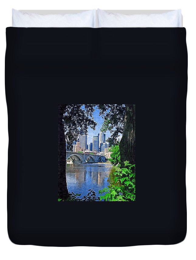 Minneapolis Duvet Cover featuring the photograph Minneapolis Through The Trees by Tom Reynen