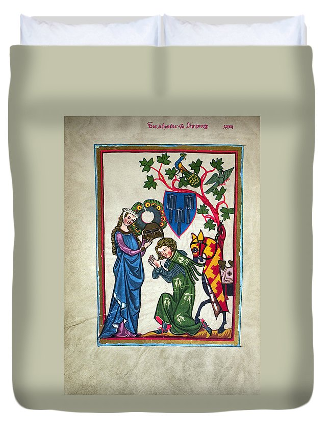 14th Century Duvet Cover featuring the photograph Minnesinger, 14th Century by Granger