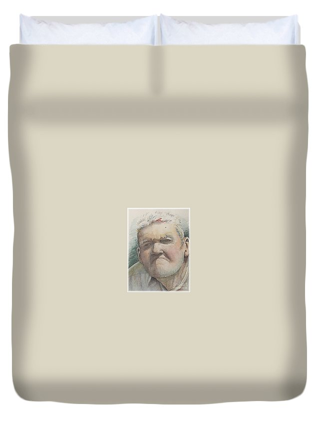Portrait Duvet Cover featuring the painting Minnesota Farmer by Nadine Rippelmeyer