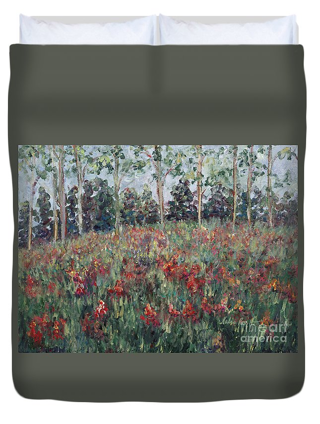 Landscape Duvet Cover featuring the painting Minnesota Wildflowers by Nadine Rippelmeyer