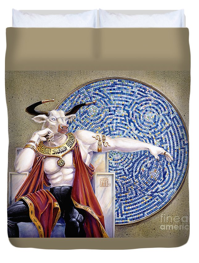 Anthropomorphic Duvet Cover featuring the painting Minotaur With Mosaic by Melissa A Benson