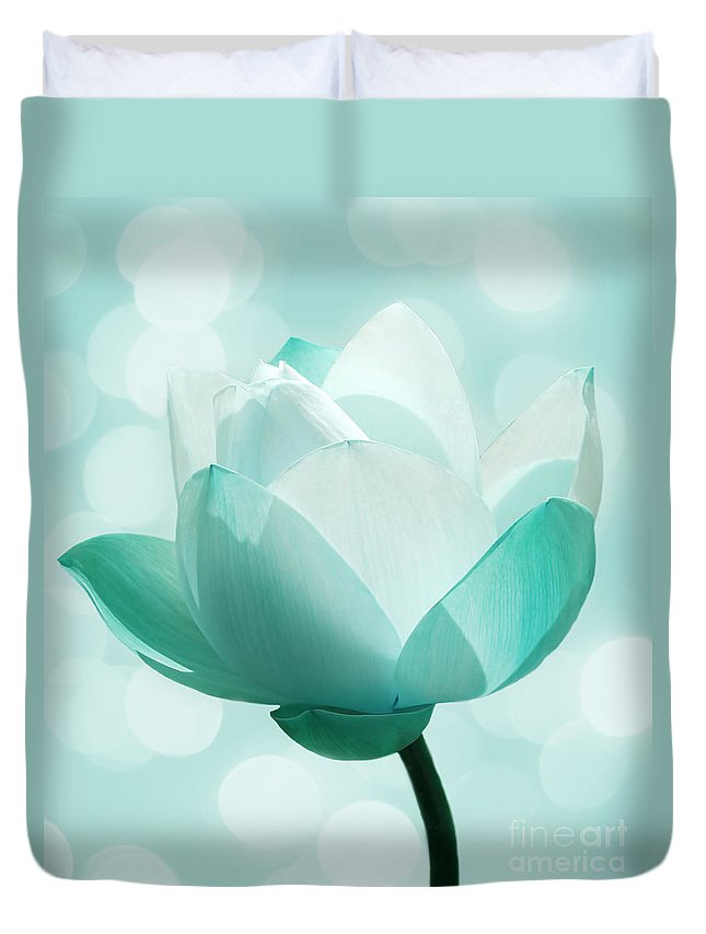 Lotus Duvet Cover featuring the photograph Mint by Jacky Gerritsen