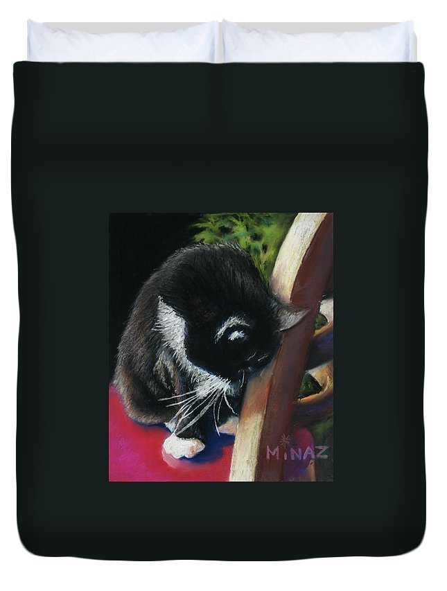 Cat Duvet Cover featuring the painting Kitty Chair by Minaz Jantz