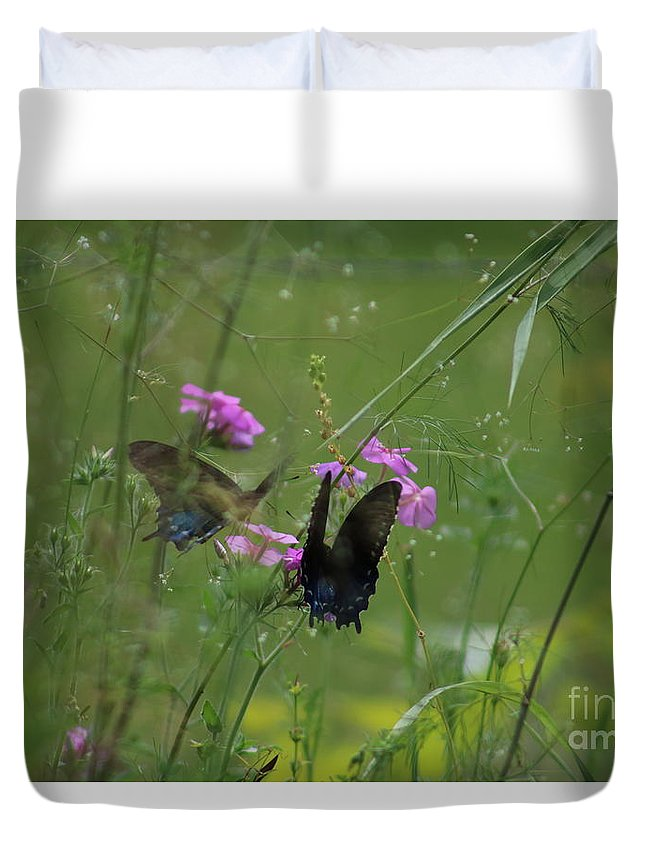 Butterfly Duvet Cover featuring the photograph Mirror Image by Michael MacGregor